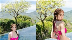 Ngọc Trinh thắt tóc hai bím, khoe trọn vòng 3 căng đét trong thiết kế bikini hồng chóe