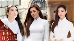 Bộ ba đương kim hoa hậu Khánh Vân - Tiểu Vy - Lương Thùy Linh diện áo dài trắng tinh khôi xinh chuẩn con gái Việt Nam