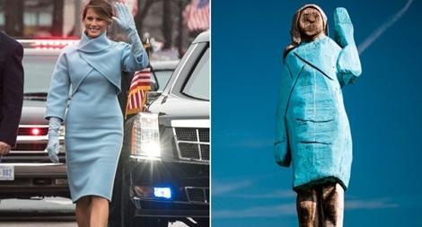 Tượng gỗ của bà Trump bị thiêu rụi ngay tại quê nhà