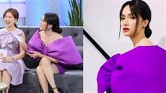 Chơi trội nhất hội 'Chị Em Chúng Mình' với bộ đầm tím nơ khổng lồ, Hương Giang lại chọn sai kiểu tóc nhìn già câng