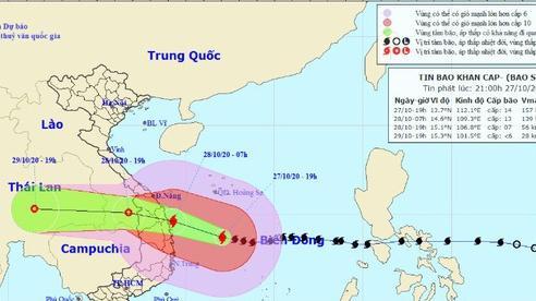 Bão số 9 đang tiến sát đất liền, hướng vào Đà Nẵng đến Phú Yên với sức gió giật cấp 15