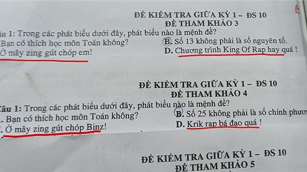 Thầy giáo dạy Toán thể hiện khả năng bắt trend kinh điển khi bê ngay Rap Việt vào đề thi