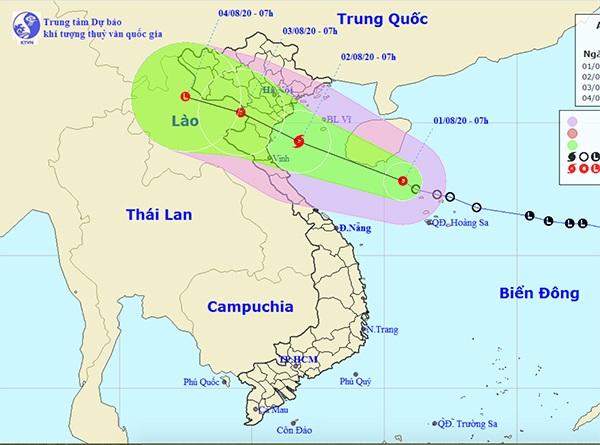 Dự báo hướng đi của ATNĐ khả năng mạnh thành bão. Ảnh: NCHMF