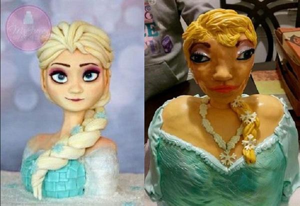 Con gái của bạn tôi nhất định muốn có một chiếc bánh hình Elsa nhưng biết làm sao khi tay nghề của cô ấy chỉ đến vậy mà thôi...