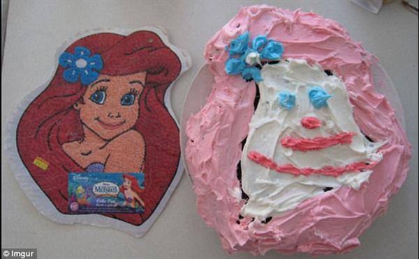 Nếu không có hình minh họa bên trái ai mà đoán được vợ tôi định làm bánh hình nàng tiên cá cơ chứ...