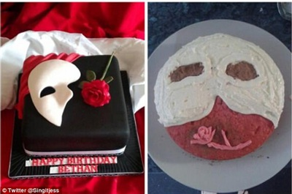Tôi nhờ cô bạn làm một chiếc bánh hình Phantom of the Opera cho sinh nhật con trai nhưng có vẻ cô ấy lấy nhầm hình mẫu của một ai đó đang băng bó vết thương trên đầu.