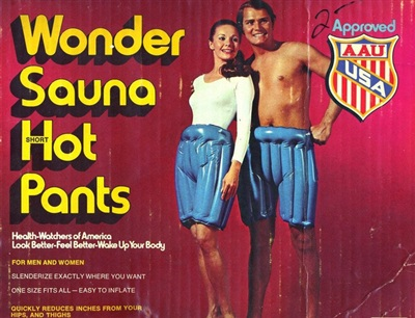 Đây là chiếc quần xông hơi để giảm cân được phát minh những năm 70. Toàn bộ công đoạn chỉ là mặc chiếc quần này vào, bơm hơi lên cho nó căng phồng như hình rồi đợi mồ hôi chảy nhễ nhại trong nhiều giờ liền.
