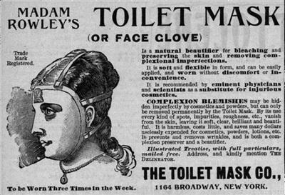 Đây là mặt nạ làm trắng da phổ biến thời xưa. Các cô gái sẽ ngủ với bộ dạng như trên để sáng hôm sau có dung nhan xinh đẹp rạng rỡ. Nhưng liệu loại mặt nạ như thế này có 'bao đẹp' ngay cả khi cả đêm không ngủ nổi vì khó chịu không nhỉ?