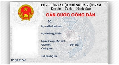 Mặt trước thẻ căn cước công dân mẫu hiện tại. Ảnh minh họa