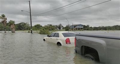 Vùng Seabrook thuộc New Orleans, bang Louisinana bị lũ lụt do ảnh hưởng của bão Beta. Ảnh: Twitter