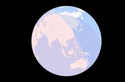 Bản đồ 3-D mô tả vùng quan sát được nguyệt thực nửa tối. Việt Nam nằm trong vùng sẽ chiêm ngưỡng cuộc xâm chiếm của 'bóng ma' trái đất trọn vẹn - ảnh: TIME AND DATE