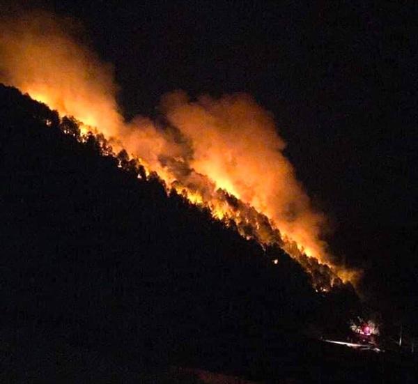 Khu vực rừng xã Diễn An bốc cháy ngùn ngụt trong đêm.