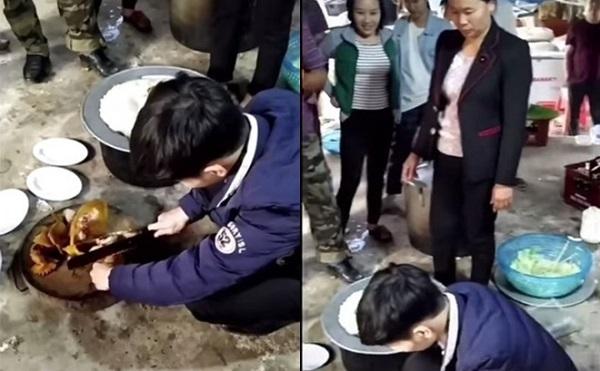 Chàng rể trong thử thách chặt thịt gà - Ảnh: Cắt từ clip