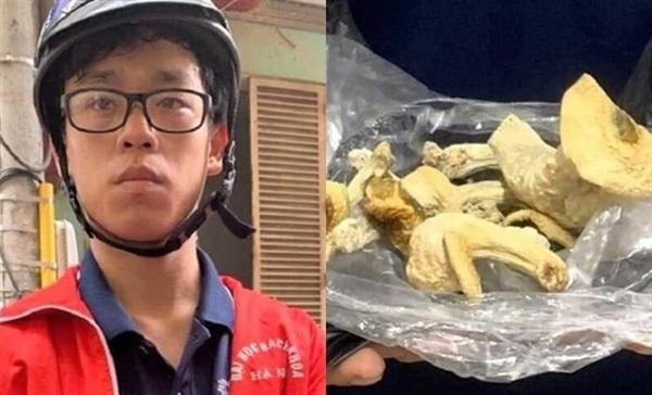 Nguyễn Trần Tuấn Phương bị bắt khi đi giao nấm. Ảnh: Infonet