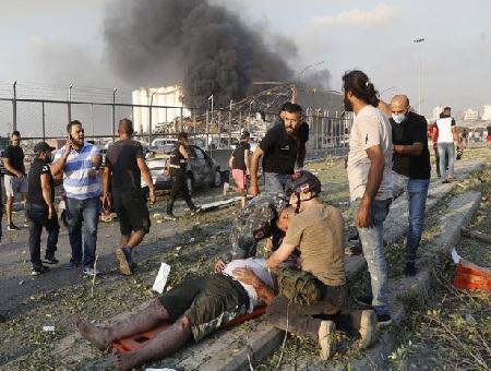 Hiện trường vụ nổ khủng khiếp ở Beirut, Li-băng.