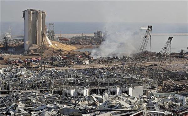 Cảnh tan hoang sau vụ nổ kinh hoàng ở khu cảng thủ đô Beirut, Liban ngày 5/8/2020