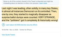 Trump đăng Twitter bày tỏ nghi ngờ về việc kiểm phiếu