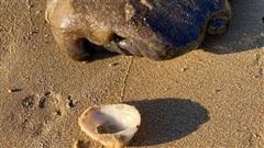 Người phụ nữ nhặt được vật thể lạ dạt vào bờ biển, dân mạng nói sắp có tiền tỷ