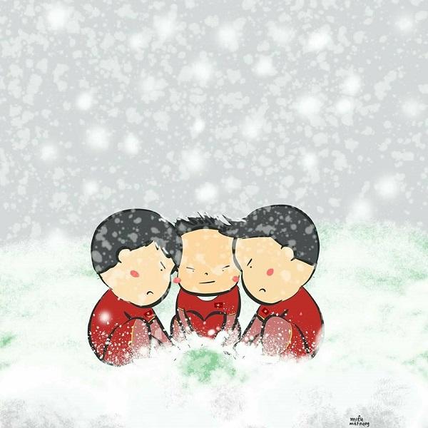 Các chàng trai của chúng ta đã thi đấu quả cảm trong thời tiết khắc nghiệt khi nhiệt độ xuống 0 độ C, tuyết rơi trắng sân Thường Châu, điều đó không dễ dàng chút nào. Chúng tôi phải cảm ơn các bạn, vì thế các bạn hãy cứ mỉm cười nhé.