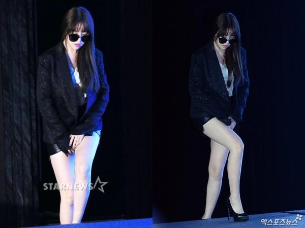 Trong một sự kiện khác, stylist của Min Ah đã 'ý tứ' hơn khi để cô nàng diện trang phục váy ngắn tông đen. Tuy nhiên, hiệu quả cũng chẳng tốt hơn là bao.