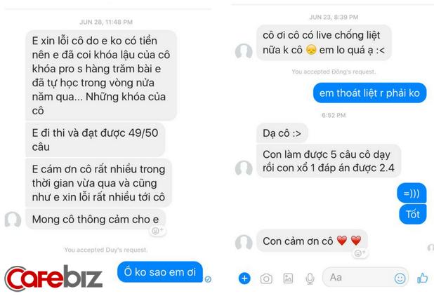 Những tin nhắn đáng yêu cô Mai Phương nhận được từ học trò muôn nơi. Nguồn: Facebook
