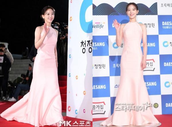 Người yêu tin đồn của Vương Đại Lục - Kang Han Na chọn chiếc váy màu hồng nhạt khá nổi bật