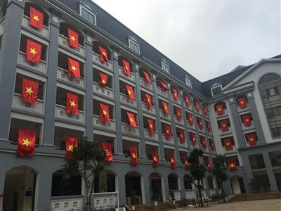 Trường ĐH FPT treo cờ đỏ, cổ vũ đội tuyển Việt Nam trước trận chung kết AFF Cup 2018.