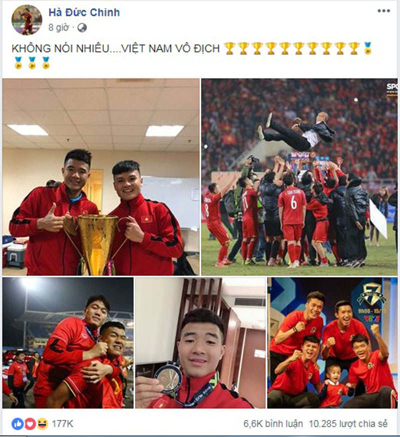 Vô địch AFF Cup 2018, các cầu thủ đăng gì lên facebook? 2