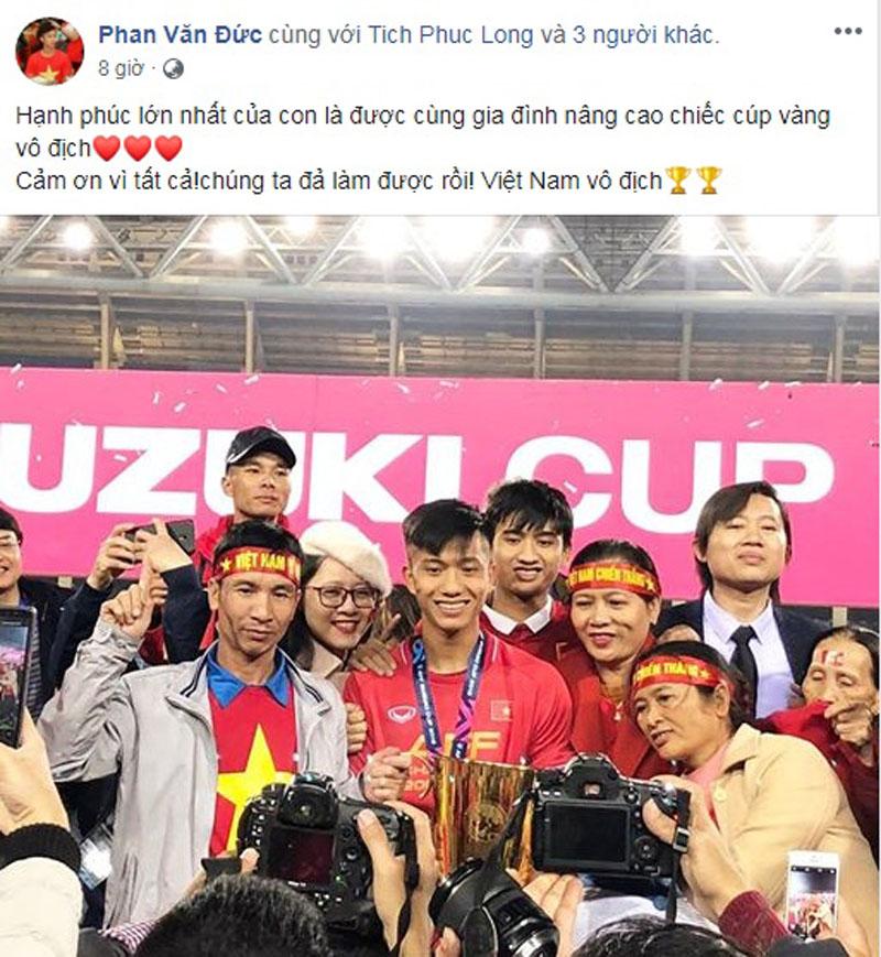 Vô địch AFF Cup 2018, các cầu thủ đăng gì lên facebook? 3