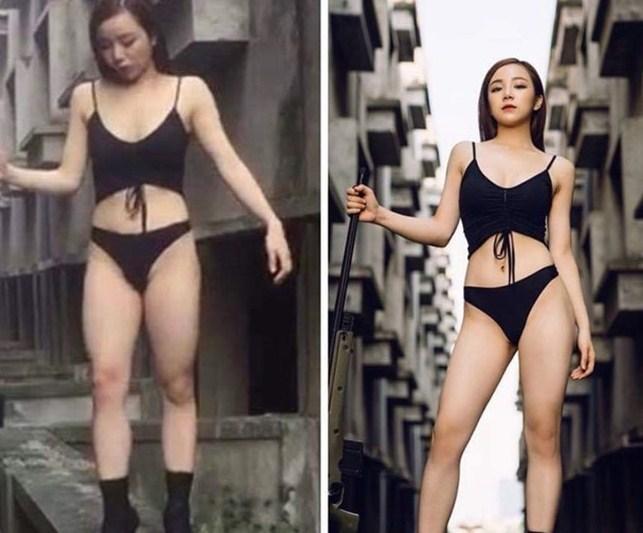 Hot girl ngủ gật Thủy Tiên cũng từng khiến nhiều người hụt hẫng khi ảnh đăng lên Facebook của cô có thân hình hoàn hảo, đôi chân nuột nà. Nhưng với bức ảnh hậu trường lại không như vậy, đôi chân của cô nàng thô kệch và vòng eo phình to.