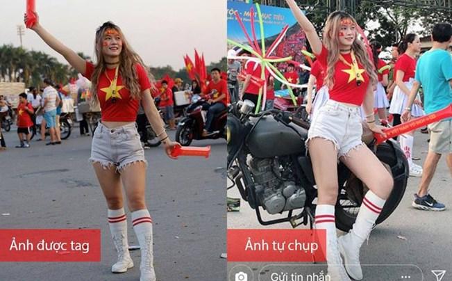 Trong một lần đi cổ vũ tuyển Việt Nam tại AFF Cup 2018, 'hot girl phòng gym' Xuân Anh cũng bị tố lạm dụng photosshop quá đà khi kéo dài đôi chân để trở nên thon gọn thay vì đôi chân ngắn, phần đùi không săn chắc như bị 'bóc phốt'.