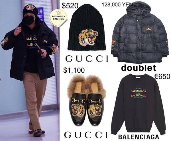 Tất tần tật từ đầu đến chân, nam ca sĩ khoác lên mình set đồ gần 100 triệu đồng. Set đồ này là sự pha trộn của nhiều thương hiệu thời trang khác nhau như mũ và giày của Gucci, áo sweater của Balenciaga, áo phao của Doublet (thương hiệu của Nhật).