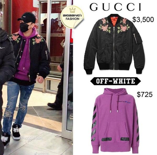 Seungri là fan cuồng của hoodie. Chiếc hoodie tím mà anh đang diện thuộc thương hiệu Off-White có giá 725 USD (sấp sỉ 16 triệu đồng). Anh khéo léo kết hợp hoodie với áo bomber Gucci có giá khoảng 3500 USD (77 triệu đồng).