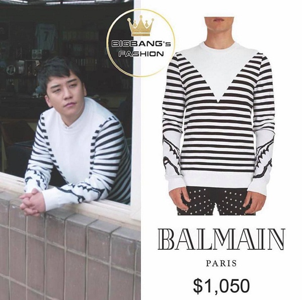 Một thiết kế khác của nhãn hiệu Balmain mà Seungri dùng, cũng là sự hòa quyện của hai màu trắng - đen, có giá 1050 USD (23 triệu đồng).