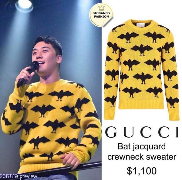 Vẫn là thương hiệu Gucci quen thuộc, chiếc áo sweater họa tiết con dơi được anh diện ngay cả trên sân khấu, trị giá 1100 (24,2 triệu đồng).