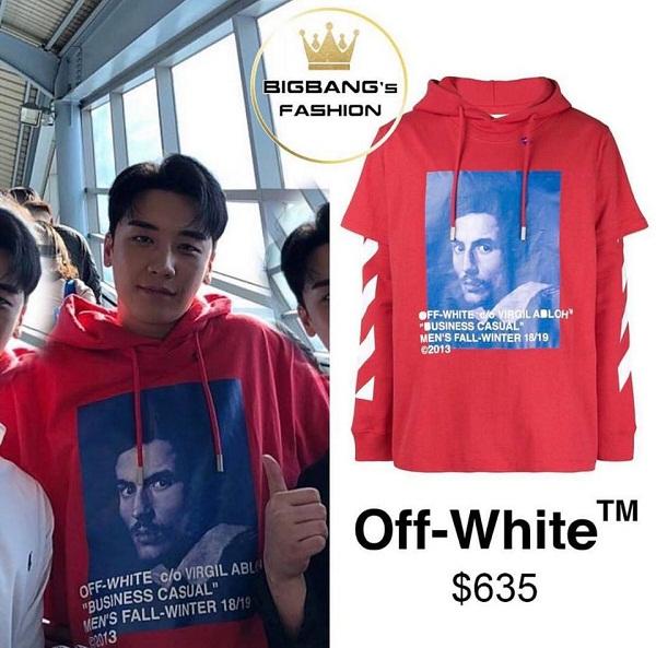 Vẫn là item hoodie quen thuộc, chiếc hoodie đỏ nổi bật của Off-White là một trong những món đồ 'bình dân' nhất của anh chàng, có giá 635 USD (xấp xỉ 14 triệu đồng).