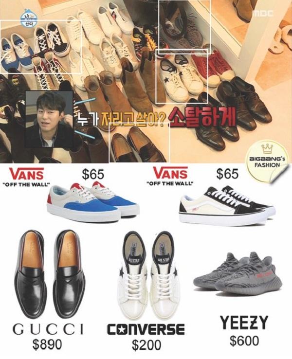 Những hãng giày yêu thích của Seungri bao gồm Gucci, Vans, Converse, Yeezy, Adidas…