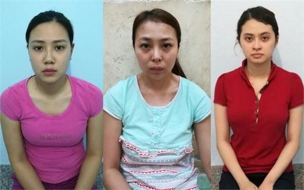 Từ trái qua: Nguyễn Thu Huyền, Lê Hương Giang, Vũ Hoàng Anh Ngọc (hotgirl Ngọc Miu). Ảnh: Công an cung cấp.