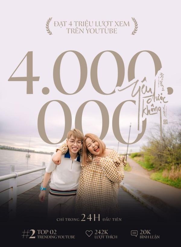 Đức Phúc 'bỏ túi' thêm 1 bản hit, Yêu được khôngtrong 24h đạt 4 triệu view, lọt top 2 trending Youtube 0