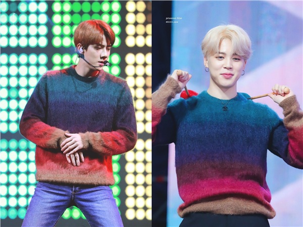 Cùng diện chiếc áo len với dải màu từ trầm đến rực rỡ, Sehun mang đến cảm giác vững chãi, chững chạc còn Jimin lại như một cậu bé đáng yêu.