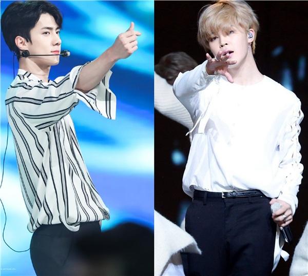 'Không đội trời chung' là vậy, nhưng ít ai biết được hai thành viên nổi bật của EXO và BTS là Sehun - Jimin đã có đến 4 lần đụng hàng.