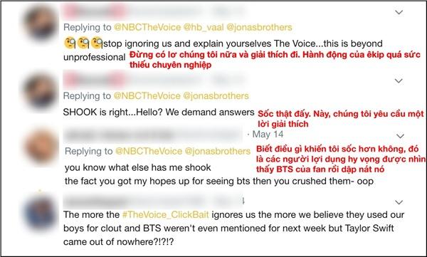 Hiện tại, trang Twitter củaThe Voice USđang bị các Army 'nhấn chìm' trong các bình luận thể hiện sự phẫn nộ và thất vọng.