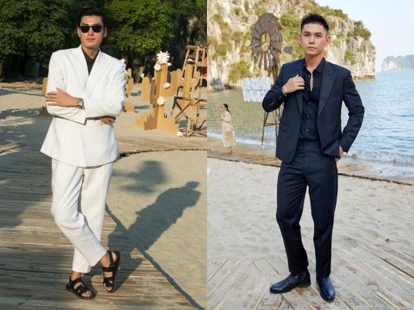 Quang Đại và Đại Nhân diện suit đĩnh đạc, thể hiện phong thái quý ông.