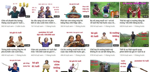 Các sản phẩm Vlog trên kênh Youtube Bà già 61 tuổi chủ yếu tái hiện lại cuộc sống đời thường của người nông dân với những món ăn quen thuộc.