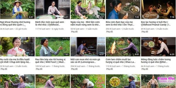 Nội dung trên kênh Youtube Ẩm thực mẹ làm là những món ăn đậm chất làng quê do chính người phụ nữ 55 tuổi là bà Cường thực hiện chế biến.
