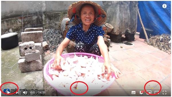 Vị trí quảng cáo được gắn trên video của kênh Bà Tân Vlog.