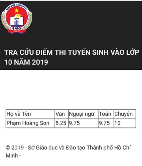 Điểm thi cụ thể của thí sinh Phạm HoàngSơn