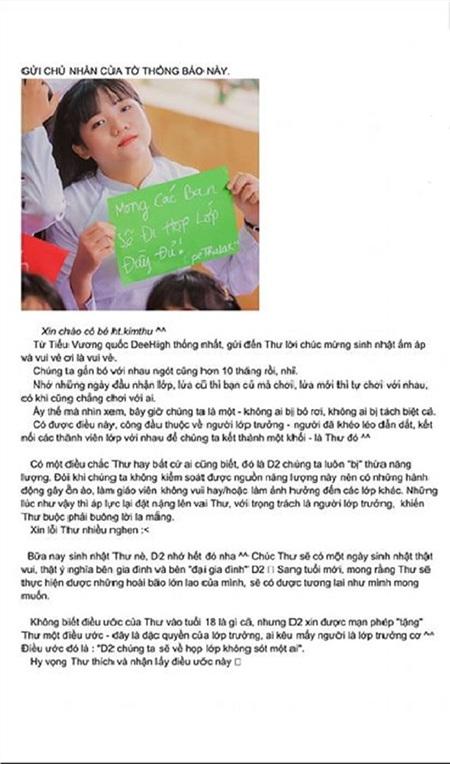Bức 'tâm thư' được các 'thần dân' lớp 12D2 gửi tặng Kim Thư.