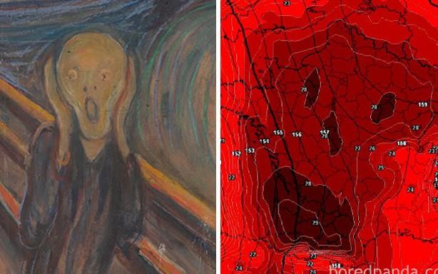 Bản đồ nền nhiệt châu Âu trong đợt nắng nóng lên tới hơn 40 độ C được mô tả là rất giống hình ảnh của thần chết.