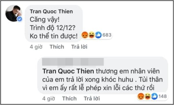 Quốc Thiên tỏ ra kinh ngạc khi biết Trương Thế Vinh yêu cầu nhân viên nói chuyện với mình phải có trình độ 12/12.